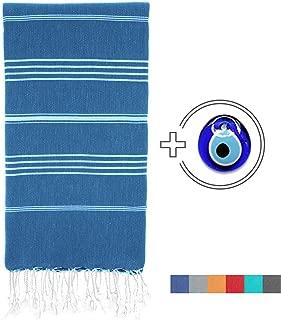 Viventive Turkish Peshtemal Towel (37x70) for Beach, Bath, Yoga, Picnic, Hammam, Travel etc. Very Soft, Absorbent, Quick Drying 100% Cotton, fouta pestemal Towel XL Throw Blanket - Navy Blue