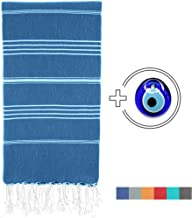 Viventive Turkish Peshtemal Towel (37x70) for Beach, Bath, Yoga, Picnic, Hammam, Travel etc. Very Soft, Absorbent, Quick Drying 100% Cotton, fouta pestemal Towel XL Throw Blanket - Navy Blue
