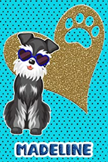 Schnauzer Life Madeline: College Ruled Composition Book Diary Lined Journal Blue