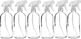 6 Pack of 16 oz Refillable Clear Glass Spray Bottles – Reusable Containers with Adjustable Sprayer: Misting & Stream – for Essential Oils, Cosmetics, Cleaning Products, Plants, Cooking, Aromatherapy