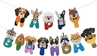 Dog Birthday Banner Happy Birthday Sign with Dog Face Colorful Dog Bday Party Bunting Decoration Baby Shower Party Supplies