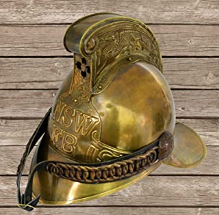 QUALITYMUSICSHOP Original Antique 1800's Brass French Firemans Helmet Firefighter SCA W/Liner
