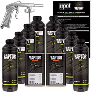 U-Pol Raptor Black Urethane Spray-On Truck Bed Liner Kit w/Free Spray Gun, 8 Liters