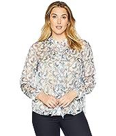 Plus Size Long Sleeve Ruffle Front Boutique Floral Blouse