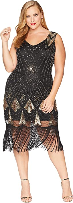 Plus Size Sequin Lina Fringe Flapper Dress