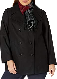 Women's Plus-Size Double Breasted Peacoat with Scarf