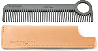Chicago Comb Model 1 Carbon Fiber Comb + Essex Natural Horween leather sheath, Made in USA, ultimate pocket and travel comb, ultra smooth strong & light, anti-static, premium American leather sheath