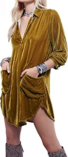 R.Vivimos Womens Velvet Long Sleeve Pocket Casual Mini Shirt Dress