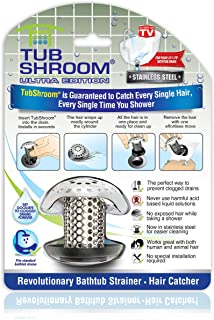 TubShroom Ultra Revolutionary Bath Tub Drain Protector Hair Catcher/Strainer/Snare Steel,..