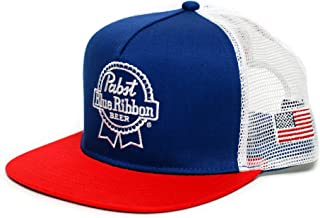 Pabst Blue Ribbon Embroidered PBR Cap Hat Flat Bill One-Size Adult Unisex Multi
