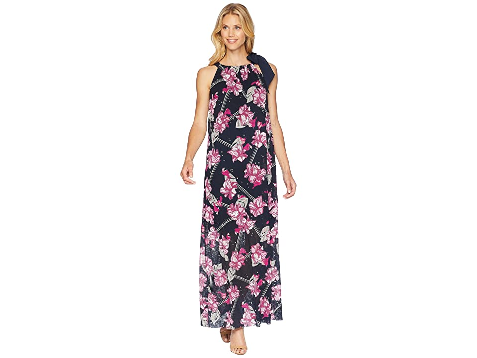 Ellen Tracy Halter Maxi Dress (Balinese Floral/Ink) Women
