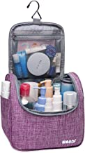 WANDF Hanging Toiletry Bag Travel Cosmetic Organizer Shower Bathroom Bag for Men Women Water-resistant (M-Denim Purple)