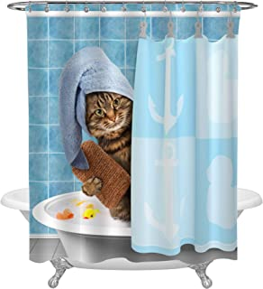 MitoVilla Funny Animal Taking a Bath Cat Shower Curtain Set with Hooks for Shower Tub, Blue Polyester Fabric Bathroom Accessories for Kid's Home Decorations, 72 W x 78 L inches