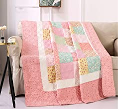 KINBEDY Patchwork Quilted Throw Blankets 100% Cotton Reversible Vintage Floral Bed Coverlets Throw Quilts for Couch Sofa T...