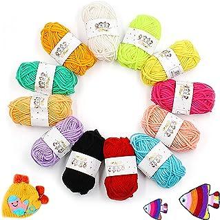 Pelotes de Laine en Acrylique, 12 Couleurs Fil à Tricoter, Mini Pelotes de Laine Multicolores en Acrylique pour Tricot, Id...