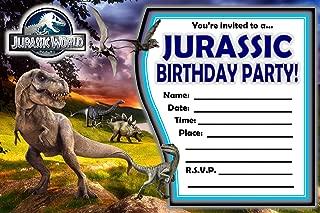 12 JURASSIC WORLD Birthday Invitations (12 5x7in Cards, 12 matching white envelopes)