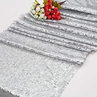 Eternal Beauty Sequin Table Runners 12'' X 108'' Silver Table Runner-Silver Wedding Table Runner for Christmas Party Birthday Baby Shower