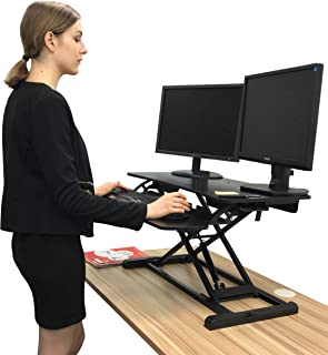 Rife Instant Gas Spring Sit Stand Converter Desk for 2 Monitors or 1 monitor and 1 Laptop Convert