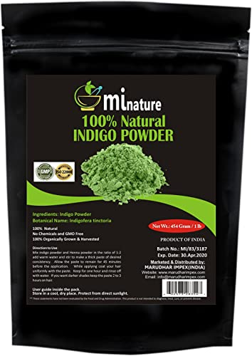 mi nature Indigo Powder -INDIGOFERA TINCTORIA,(, ORGANICALLY GROWN) 1 LB (454 grams/16 ounces) RESEALABLE BAG