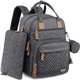 کوله پشتی کیف پوشک ، کیف های بزرگ بچه گانه یونیکس جنس iniuniu ، بسته برگشتی ضد آب با کیف پوشک ، پد تعویض قابل شستشو ، کیف پستانک و بندهای کالسکه ، خاکستری تیره