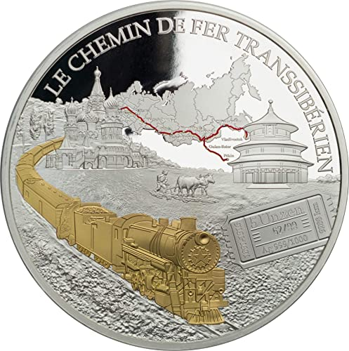 DEUTSCHER MüNZEXPRESS Transsibirische Eisenbahn Kamerun 2018   Silbermünze 5 oz mit Echtheitszertifikat   5000 CFA Francs