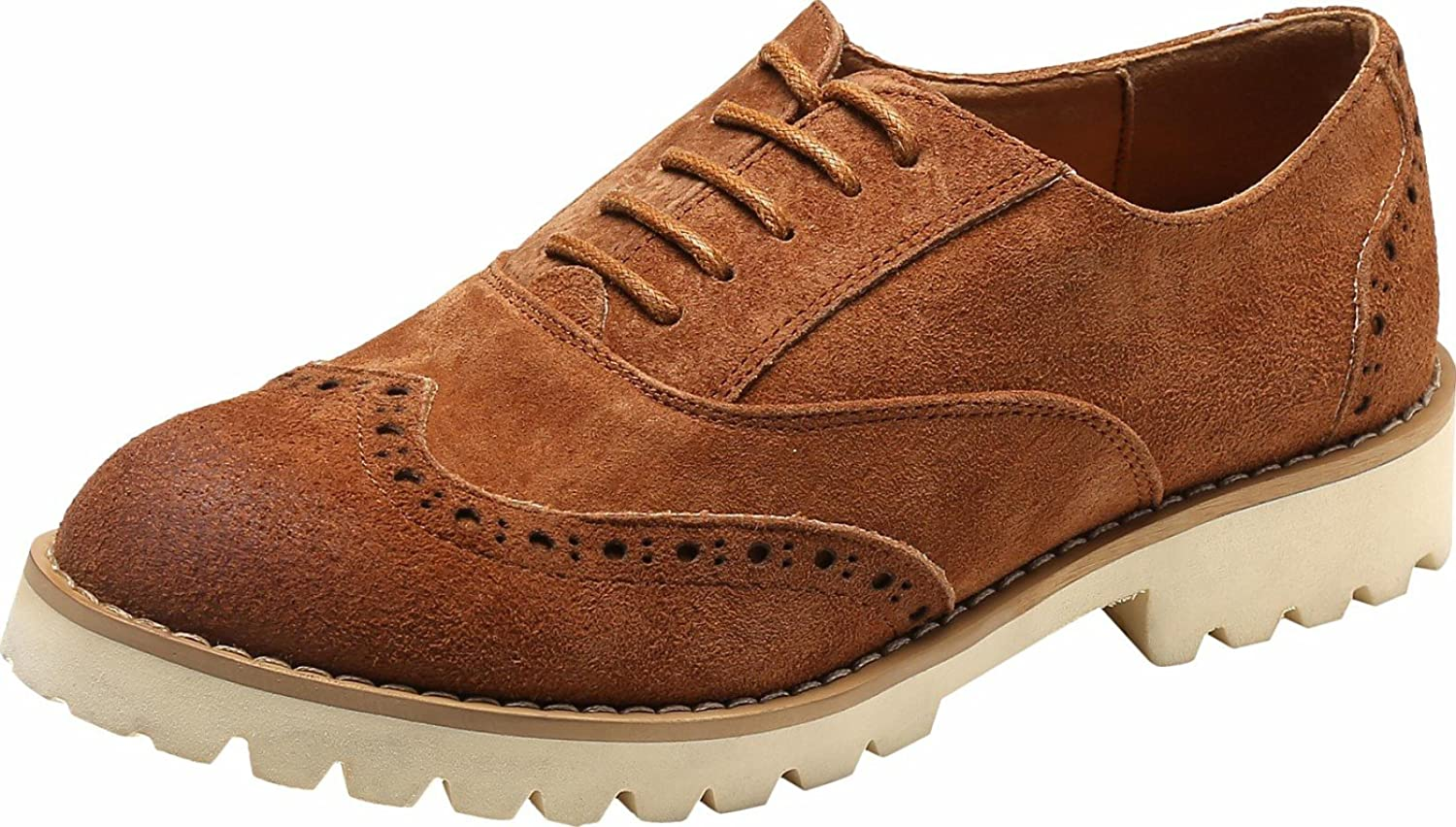 Ulite Womens Solid color Perforated Suede Leather Lace-up Casual Oxfords, Comfortable Simple Walking shoes