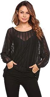 Zeagoo Women`s Crochet Blouse Batwing Long Sleeve Shirt Lace Sheer Tops