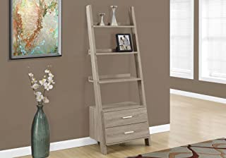Monarch Specialties I 2538, Bookcase, Ladder with 2-Storage Drawers, Dark taupe, 69