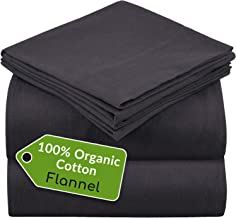 Mellanni 100% Organic Cotton Flannel Sheet Set - Heavyweight 180GSM 4 pc Luxury Bed Sheets - Cozy, Soft, Warm, Breathable Bedding - Deep Pockets - All Around Elastic (Queen, Gray)