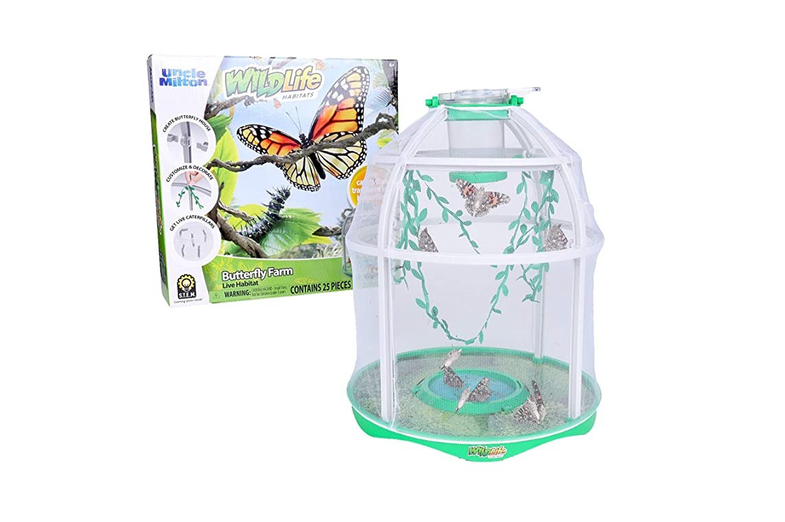 Uncle Milton Butterfly Farm Live Habitat - Observe Butterfly Garden Lifecycle - Nature Learning Toy