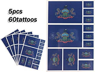JBCD Pennsylvania Temporary Tattoos 60 Pcs Pennsylvanian Flag Stickers, Waterproof tattoos State Flags Tattoo Patriotic Face Tattoos, Suitable for Sports Event Parties and Pride Decorations