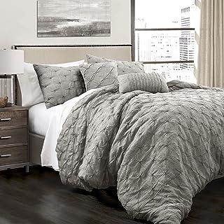 Lush Decor Ravello Comforter Shabby Chic Style Pintuck 5 Piece Bedding Set with Pillow Shams, King, Gray