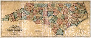 MAP of NORTH CAROLINA by the W Williams Map Engraving Company circa 1854 - measures 24