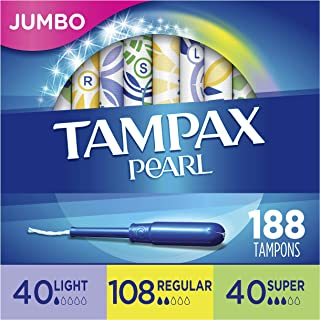Tampax Pearl Plastic Tampons, Light/Regular/Super Absorbency Multipack, 188 Count, Unscented (47 Count, Pack of 4 - 188 Co...