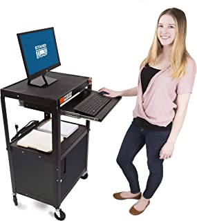 Line Leader AV Cart and Locking Cabinet - Includes Pullout Keyboard Tray, Easy Locking Wheels and Cord Management - Great for School and Office (42 x 24 x 18 / Black)