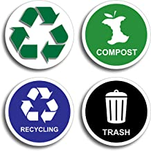 """4 Pack 4"""" x 4"""" Recycle Symbol Sticker for Green, White, Blue, Recycling Bins & containers for Recycled Plastic, Paper, Car..."""
