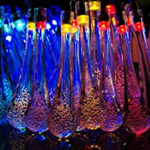 NAttnJf Waterproof 30 LED Solar String Light Water Drop Fairy Lamp Christmas Garden Party