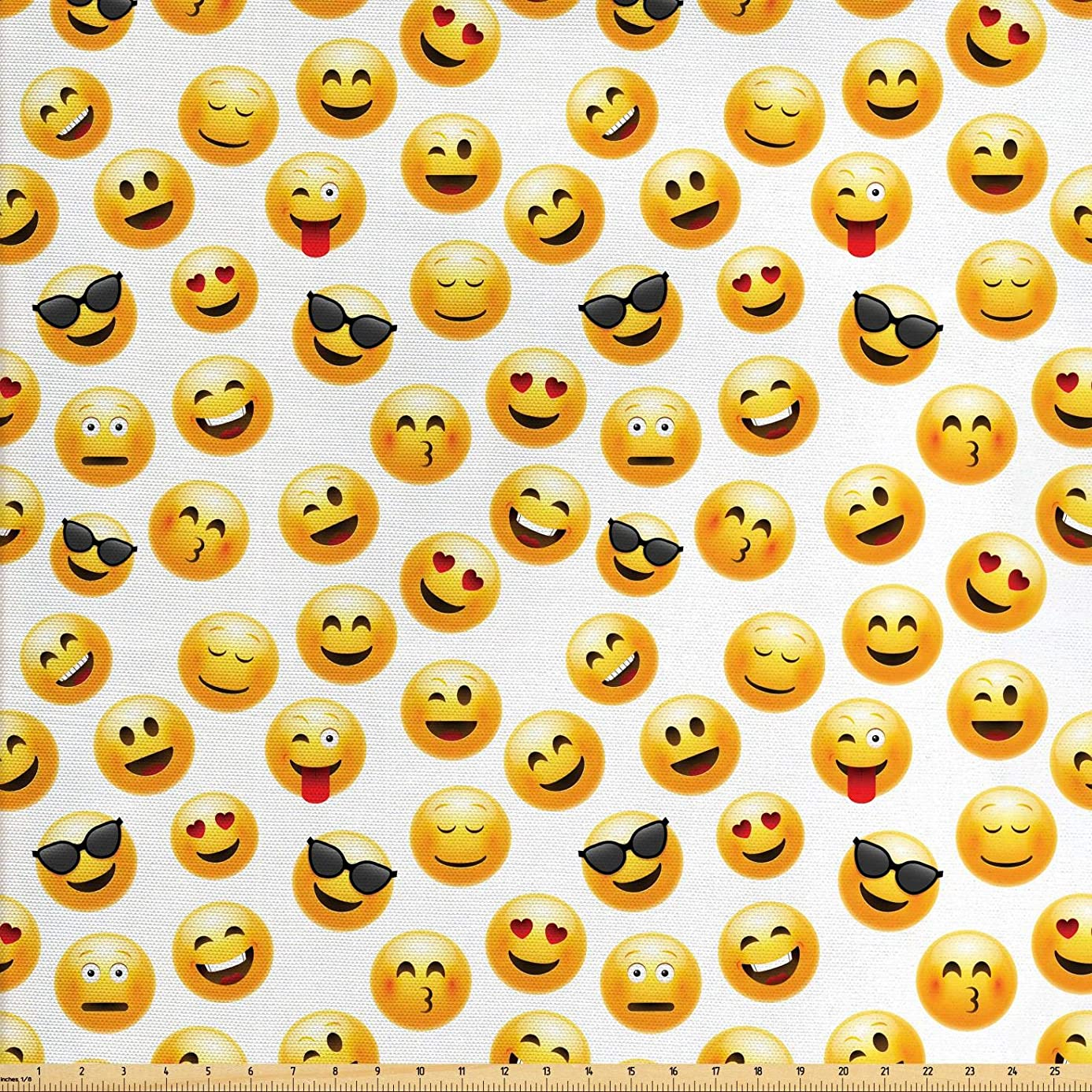 Ambesonne Emoji Fabric by The Yard, Smiley Face Character Illustration Feeling Happy Surprised Cool and in Love, Decorative Fabric for Upholstery and Home Accents, 1 Yard, Yellow Red Black nkn4141778