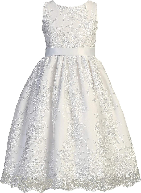 First Communion Baptism Girls White Dress Embroidered Tulle Sequins Wedding Flower Girl Easter