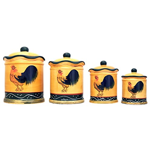 10 5 X 5 5 Inch Set Of 4 Red Rooster Canisters Primitive Style Farmhouse Home Kitchen Decor Tins Food Bins Canisters Hazelsdiner Kitchen Dining