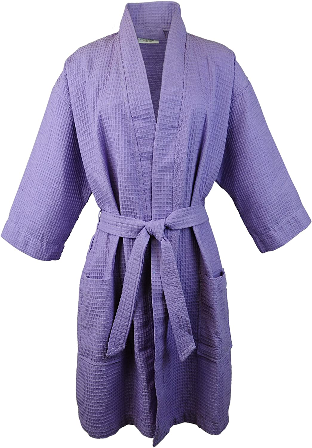 BC BARE COTTON Thigh Length Waffle Kimono Robe One Size Lavender