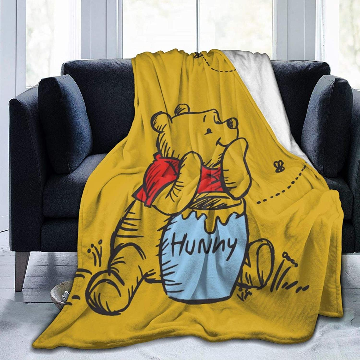 WOMFUI Cute Fees free Bear Blanket Warm Super Super special price Soft fo Flannel Covering Bed