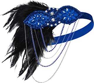 Coucoland 1920s Flapper Headband Crystal Black Feather Headpiece Roaring 20s Gatsby Hair Accessories for Women (Blue)