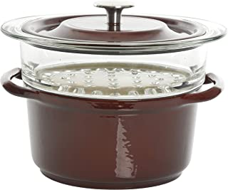 Kenmore Oak Park Cast Iron Dutch Oven with Lid and Steamer, 3-Quart, Red