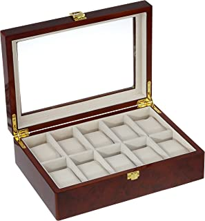 Tech Swiss TSAA31-576 Watch Box for 10 Watches Burlwood Finish