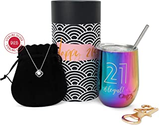 TheFreeSpirited47 21st Birthday gifts for her Sterling Silver necklace Stainless steel tumbler 21st Birthday 21st birthday ideas 21 birthday 21st birthday gifts