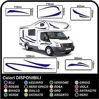 Pegatinas para Camper gráficos vinilo pegatinas calcomanías conjunto camper van RV caravana Caravan x 16 pegatinas kit completo con pegatinas para autocaravanas de alta calidad-gráficos 17 (AZUL)