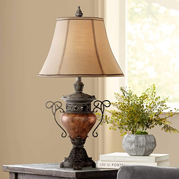 Traditional Table Lamp Bronze Crackle Urn Faux Silk Bell Shade For Living Room Family Bedroom Bedside Nightstand Regency Hill