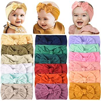 18PCS Baby Nylon Headbands Hairbands Hair Bow Elastics for Baby Girls Newborn Infant Toddlers Kids