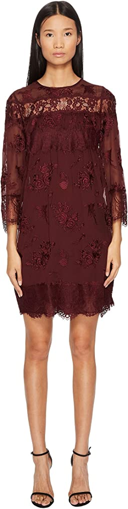 Dress in Embroidered Fabric with Lace